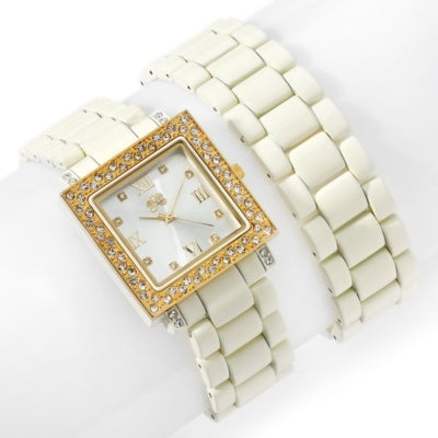 Ivory Curations with Stefani Greenfield Wrap Watch and Bracelet Set - Silver Insanity