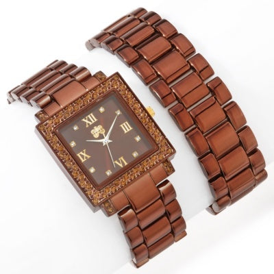 Brown Curations with Stefani Greenfield Wrap Watch and Bracelet Set - Silver Insanity