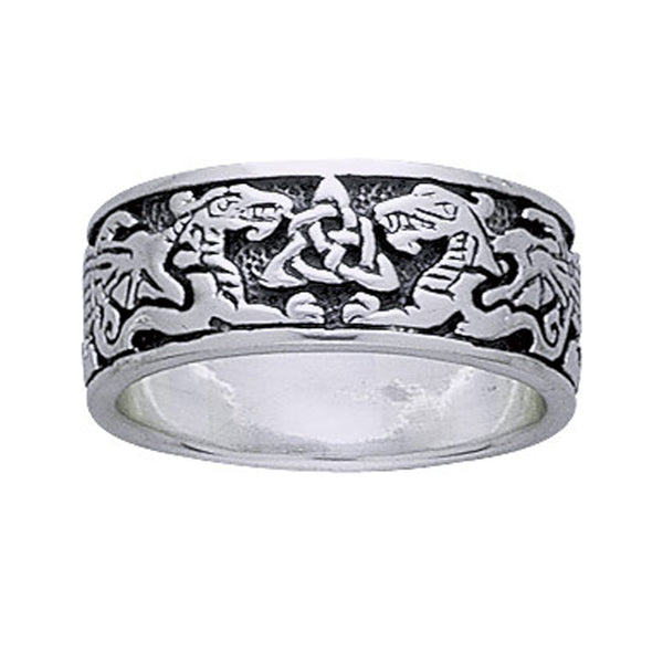 Sterling Silver Celtic Dragons Trinity Knot Band Ring - Silver Insanity