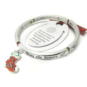 Joy of Christmas - Stocking Charm Silver Tone Stretch Bangle Bracelet - Silver Insanity