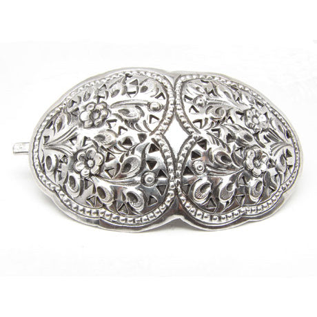 Sterling Silver Ornate Flowered Hair Pin Clip Barrette