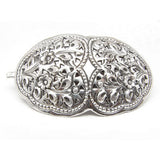 Sterling Silver Ornate Flowered Hair Pin Clip Barrette - Silver Insanity