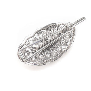 Long Victorian Style Sterling Silver Ornate Flowered Hair Pin Clip Barrette - Silver Insanity