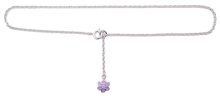 "Sterling Silver 9"" Chain Anklet with Dangling CZ and Purple Flower Charm"