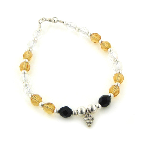 "Yellow and Black Crystal Beaded Sterling Silver Bracelet 7"" - Silver Insanity"