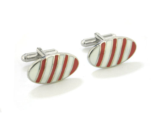 Mens Red and White Candy Cane Striped Oval Silver-Tone Cufflinks - Silver Insanity