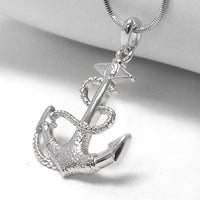 "Anchor and Rope White Gold Plated Pendant 17"" Necklace - Silver Insanity"