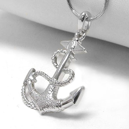 Anchor and Rope White Gold Plated Pendant 17
