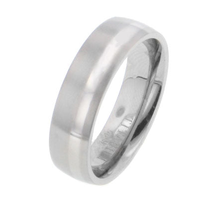 Aurora Silver Stripe Titanium Wedding Band Ring - Silver Insanity