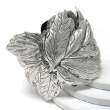 "Frozen Leaves of Winter Antiqued Silvertone Cuff Bracelet 7"" - Silver Insanity"