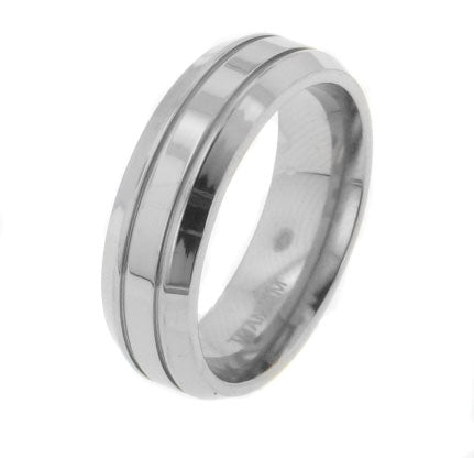 Mens Single Stripe Titanium Wedding Band Ring - Silver Insanity