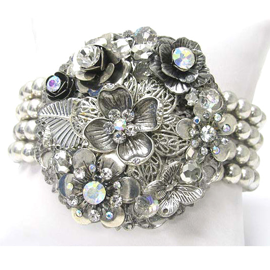 Aurora Borealis Flowered Corsage with Multi-Strand Silvertone Stretch Bracelet - Silver Insanity