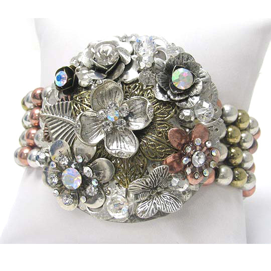 Crystal Flower Corsage with Silver, Gold and Copper Tone Beaded Stretch Bracelet - Silver Insanity