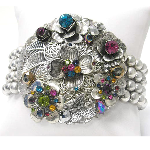 Multi-Colored Corsage Stretch Bracelet with Rainbow Crystals - Silver Insanity
