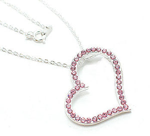 "Bright Pink Crystal Large Floating Heart Silver-Tone Pendant Necklace 16"" to 19"" - Silver Insanity"