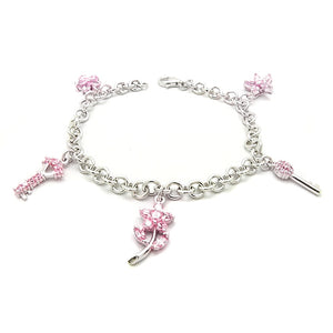 "Pink CZ Key Flower on Rhodium Plated Sterling Silver Charm Bracelet 7"" - 8"" - Silver Insanity"