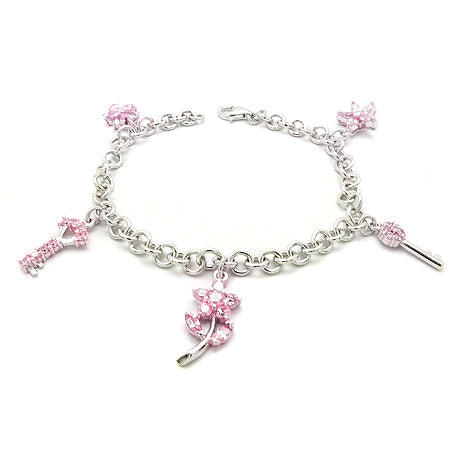Pink CZ Key Flower on Rhodium Plated Sterling Silver Charm Bracelet 7
