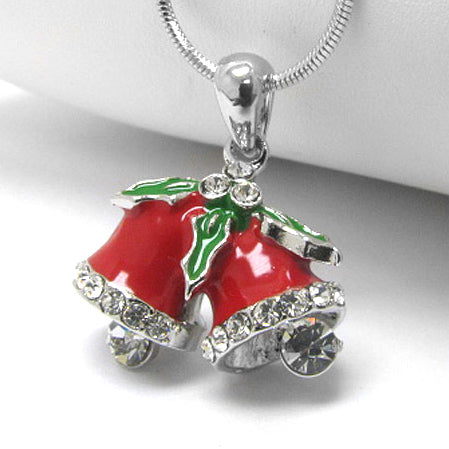 "Christmas Cheer Holiday Bells with Mistletoe - 17"" Pendant Necklace"