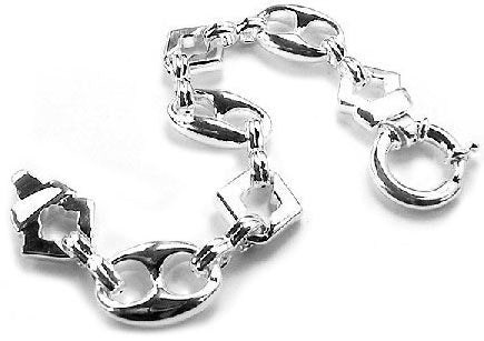 "Sterling Silver Hollow Puffed Anchor 9"" Chain Bracelet - Silver Insanity"