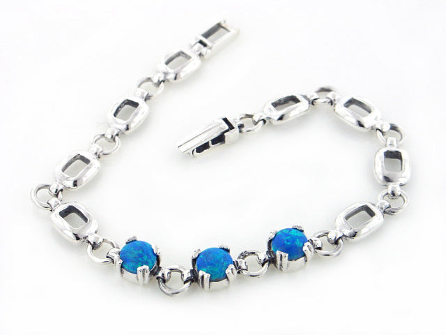 Sterling Silver 3-Stone Simulated Blue Opal Link Bracelet 7""