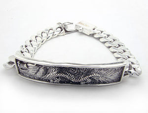 "79gram Heavy Sterling Silver Antiqued Dragon Center Chain Bracelet 8"" - Silver Insanity"