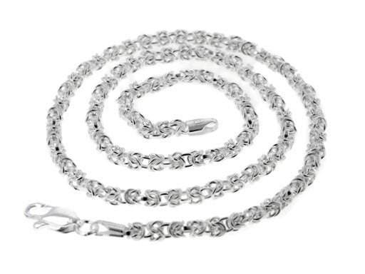 Sterling Silver  Byzantine 3mm Chain Necklace - Silver Insanity