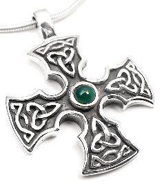Sterling Silver Green Agate Celtic Knot Iron Cross Pendant