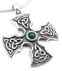 Sterling Silver Green Agate Celtic Knot Iron Cross Pendant - Silver Insanity