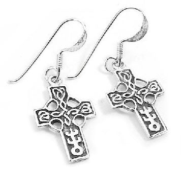 Sterling Silver Celtic Knot Cross Hook Dangle Earrings - Silver Insanity