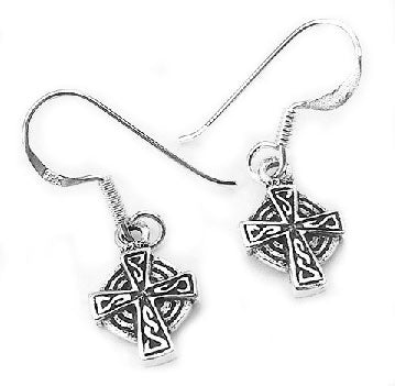 Sterling Silver Celtic Knot Sun Cross Dangle Earrings - Silver Insanity