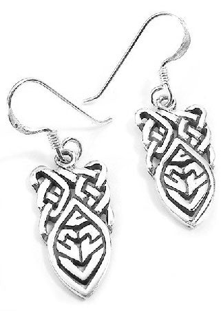 Sterling Silver Unusual Celtic Knot Drop Hook Earrings