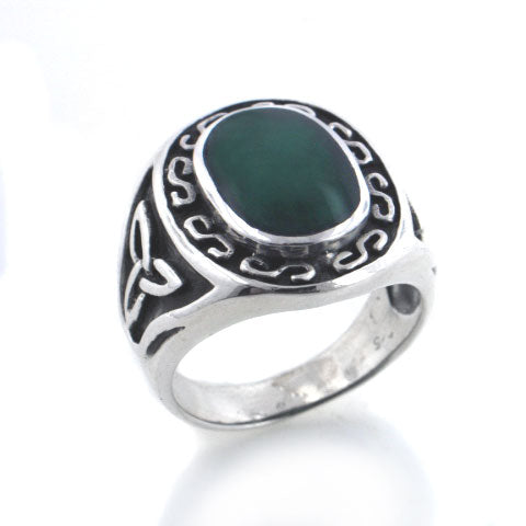 Mens Celtic Sterling Silver Agate Inlay Ring
