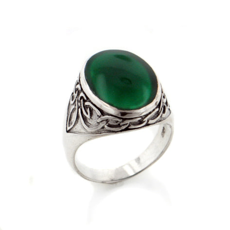 Mens Celtic Knotwork Sterling Silver and Green Agate Inlay Band Ring