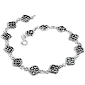 "Heavy Antiqued Celtic Knot Sterling Silver 9.5"" Anklet - Silver Insanity"
