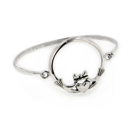 Large Sterling Silver Celtic CLADDAGH Bangle Bracelet