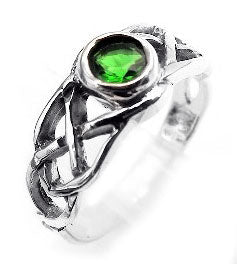 Sterling Silver CELTIC Knot Green Crystal Ring