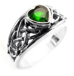Silver Celtic Knot and Green Crystal Heart Ring