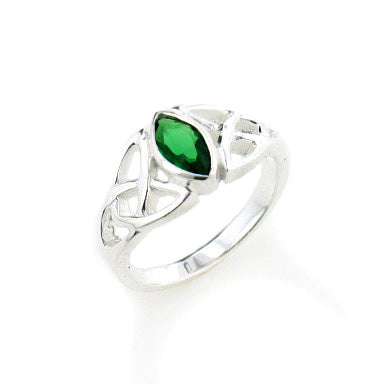 Sterling Silver Scottish Celtic Knot Emerald-Green Glass Ring