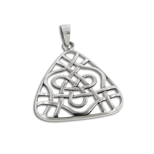 Open Celtic Trinity Knot Triangle Sterling Silver Pendant - Silver Insanity