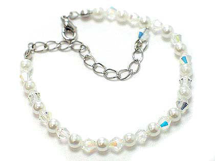 "Crystal and Simulated Pearl Adjustable Bracelet 6"" to 7.5"" - Silver Insanity"