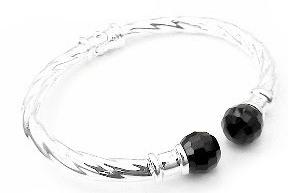 Hinged Sterling Silver Black Onyx Cable Cuff Bracelet - Silver Insanity