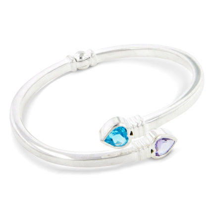 Amethyst and Blue Topaz Sterling Silver Bangle Bracelet - Silver Insanity