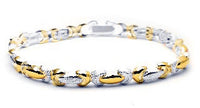 Sterling Silver Satin Finish and Gold Overlay Bracelet - Silver Insanity