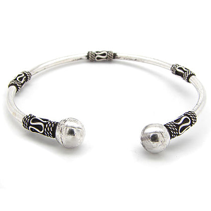 Bali Style Sterling Silver Ball-Ends Cuff Bangle Bracelet - Silver Insanity