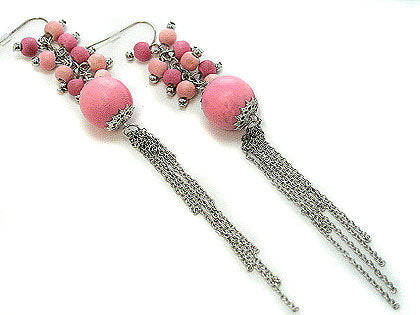"Shoulder Duster Pink Wood Beaded Cluster 5"" Long Chain Cascading Hook Earrings"