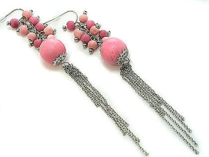 "Shoulder Duster Pink Wood Beaded Cluster 5"" Long Chain Cascading Hook Earrings - Silver Insanity"