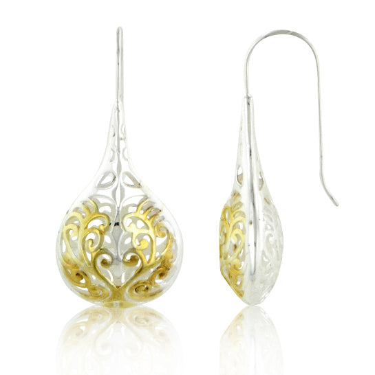 Sterling Silver Two Tone Filigree Teardrop Earrings