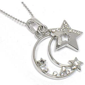 Celestial Crystal Crescent Moon and Star Pendant 18