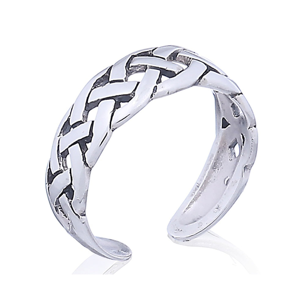 Sterling Silver Celtic Knot Basket Weaved Toe Ring - Silver Insanity
