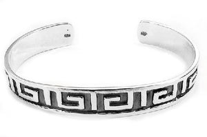 Heavy Solid Sterling Silver Greek Key Pattern Cuff Bracelet - Silver Insanity